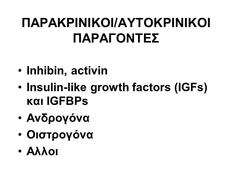 ΠΑΡΑΚΡΙΝΙΚΟΙ/ΑΥΤΟΚΡΙΝΙΚΟΙ ΠΑΡΑΓΟΝΤΕΣ Inhibin, activin Insulin-like growth factors (IGFs) και IGFBPs Ανδρογόνα Οιστρογόνα Αλλοι