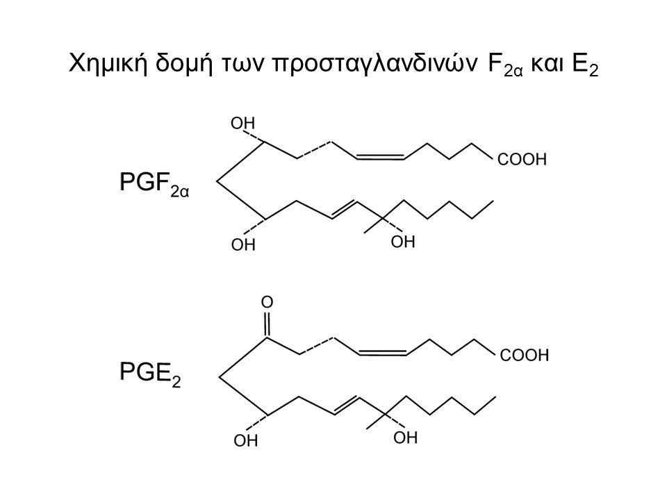 Χημική δομή των προσταγλανδινών F 2α και Ε 2