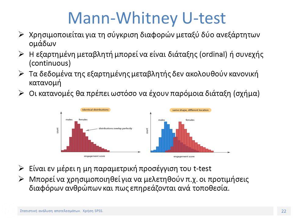 22 Στατιστική ανάλυση αποτελεσμάτων. Χρήση SPSS.
