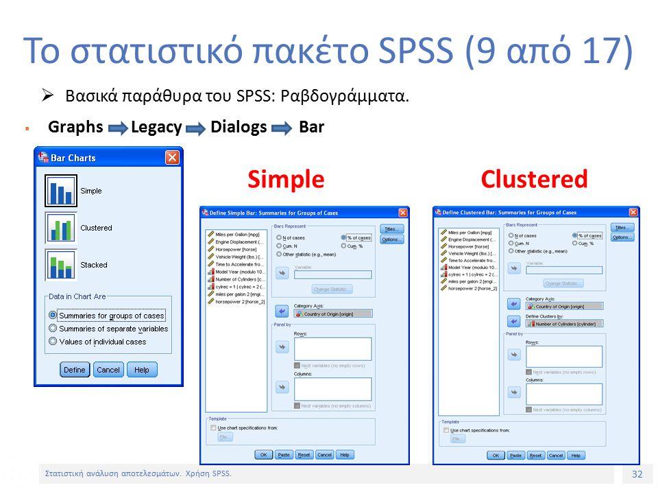 32 Στατιστική ανάλυση αποτελεσμάτων. Χρήση SPSS.