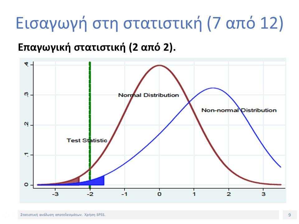 9 Στατιστική ανάλυση αποτελεσμάτων. Χρήση SPSS. Επαγωγική στατιστική (2 από 2).