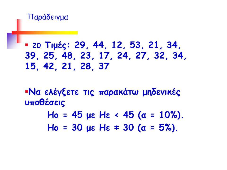  20 Τιμές: 29, 44, 12, 53, 21, 34, 39, 25, 48, 23, 17, 24, 27, 32, 34, 15, 42, 21, 28, 37  Να ελέγξετε τις παρακάτω μηδενικές υποθέσεις Ηο = 45 με Ηε < 45 (α = 10%).