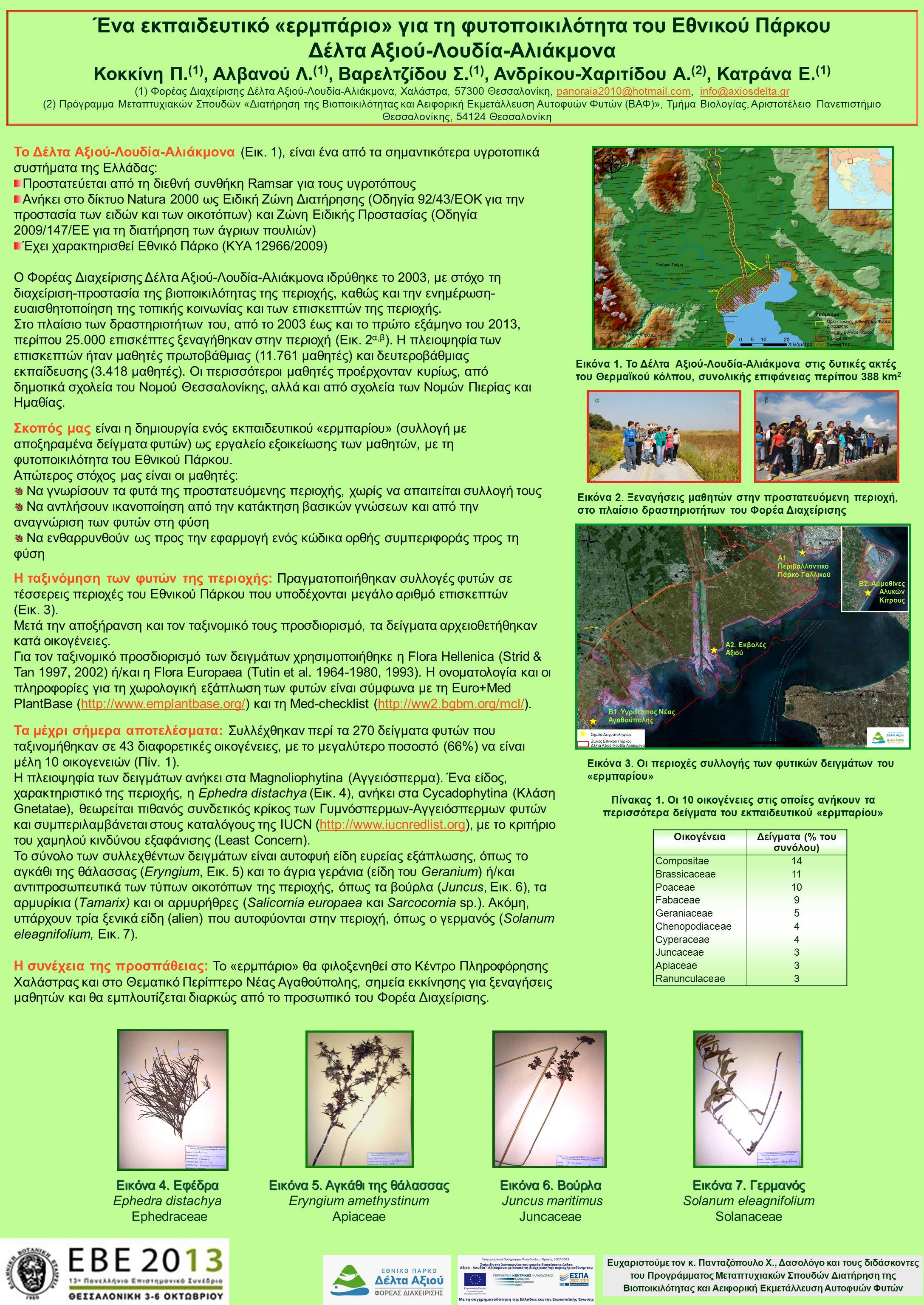 Ένα εκπαιδευτικό «ερμπάριο» για τη φυτοποικιλότητα του Εθνικού Πάρκου Δέλτα Αξιού-Λουδία-Αλιάκμονα Κοκκίνη Π. (1), Αλβανού Λ. (1), Βαρελτζίδου Σ. (1),