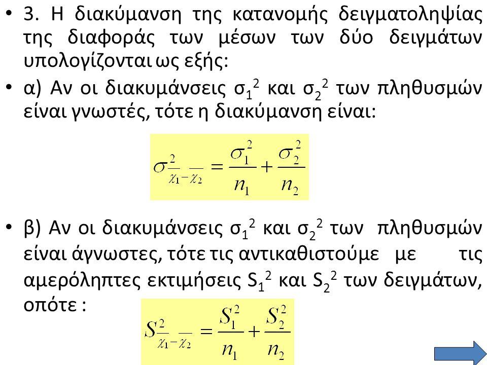 Κατανομή δειγματοληψίας διαφοράς δύο μέσων δειγμάτων 2.