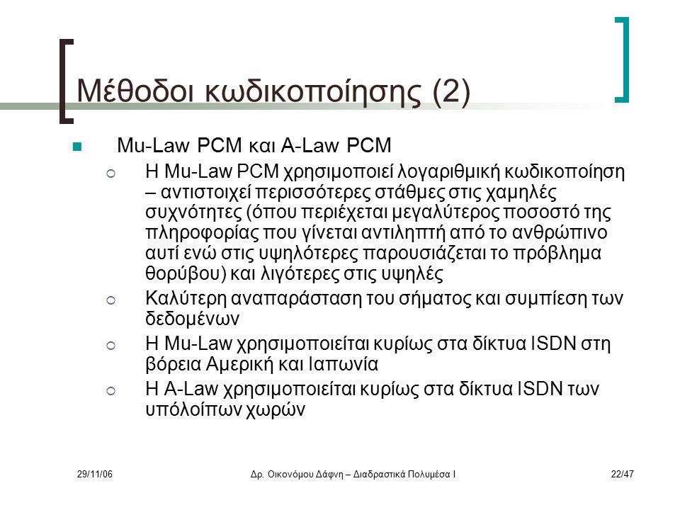 29/11/06Δρ. Οικονόμου Δάφνη – Διαδραστικά Πολυμέσα Ι22/47 Μέθοδοι κωδικοποίησης (2) Mu-Law PCM και A-Law PCM  Η Mu-Law PCM χρησιμοποιεί λογαριθμική κ