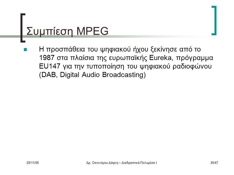 29/11/06Δρ. Οικονόμου Δάφνη – Διαδραστικά Πολυμέσα Ι30/47 Συμπίεση MPEG Η προσπάθεια του ψηφιακού ήχου ξεκίνησε από το 1987 στα πλαίσια της ευρωπαϊκής