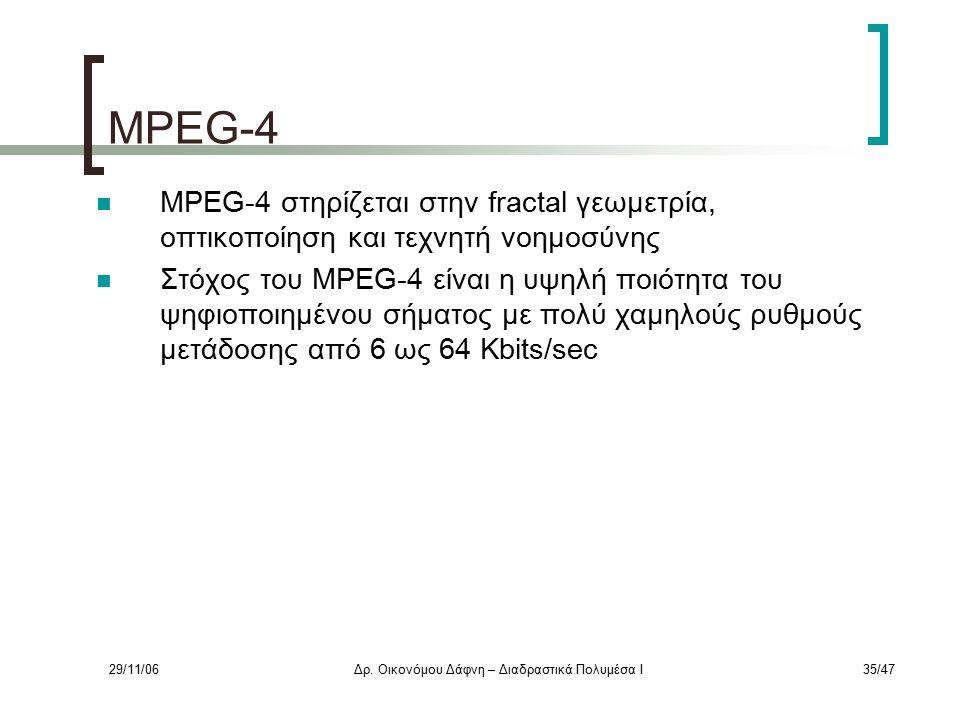 29/11/06Δρ. Οικονόμου Δάφνη – Διαδραστικά Πολυμέσα Ι35/47 MPEG-4 MPEG-4 στηρίζεται στην fractal γεωμετρία, οπτικοποίηση και τεχνητή νοημοσύνης Στόχος