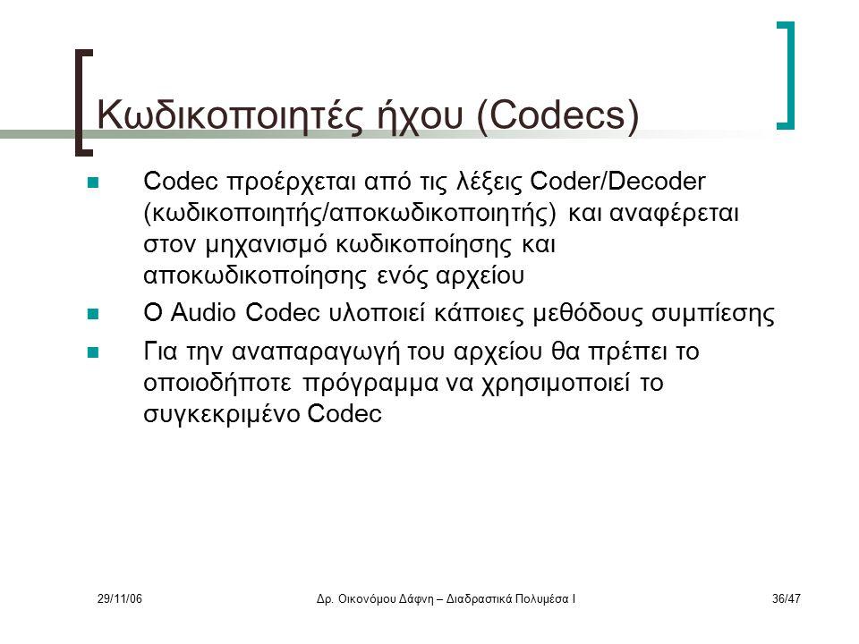 29/11/06Δρ. Οικονόμου Δάφνη – Διαδραστικά Πολυμέσα Ι36/47 Κωδικοποιητές ήχου (Codecs) Codec προέρχεται από τις λέξεις Coder/Decoder (κωδικοποιητής/απο
