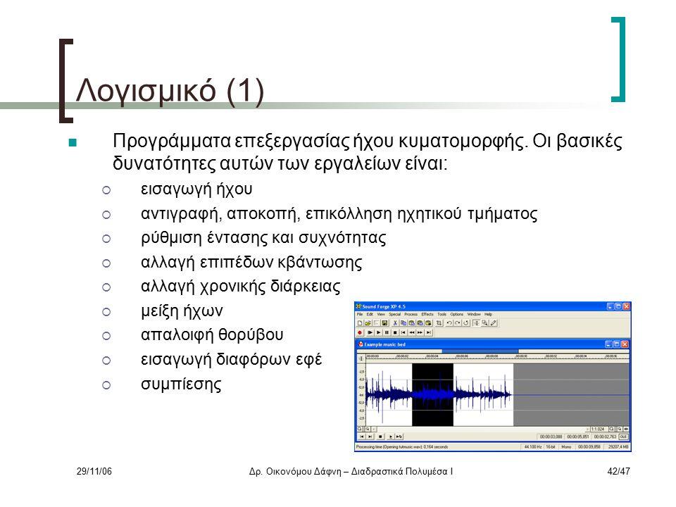 29/11/06Δρ. Οικονόμου Δάφνη – Διαδραστικά Πολυμέσα Ι42/47 Λογισμικό (1) Προγράμματα επεξεργασίας ήχου κυματομορφής. Οι βασικές δυνατότητες αυτών των ε