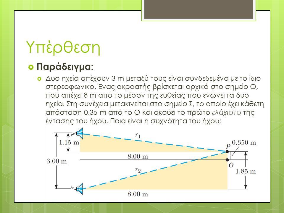  Παράδειγμα:  Δυο ηχεία απέχουν 3 m μεταξύ τους είναι συνδεδεμένα με το ίδιο στερεοφωνικό.