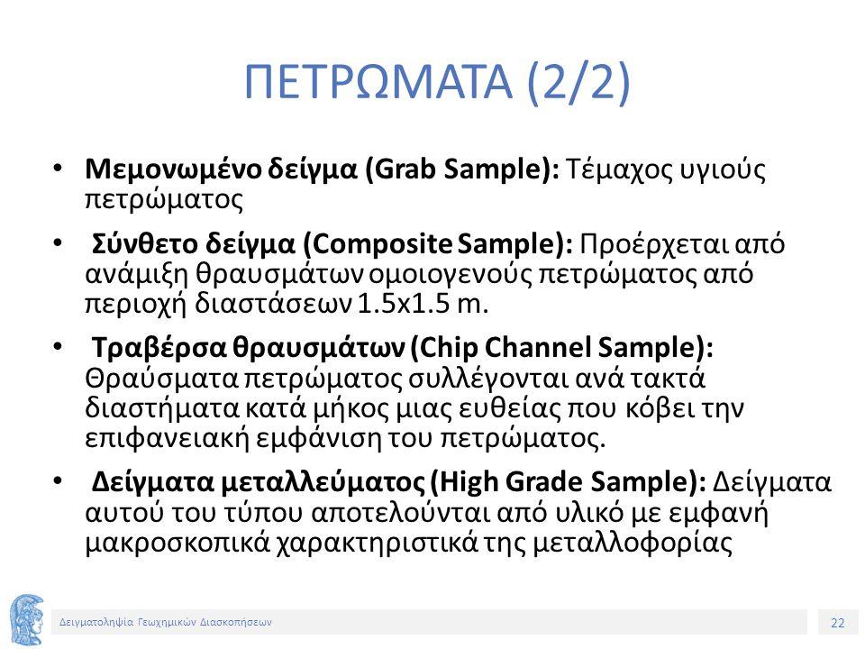22 Δειγματοληψία Γεωχημικών Διασκοπήσεων ΠΕΤΡΩΜΑΤΑ (2/2) Μεμονωμένο δείγμα (Grab Sample): Τέμαχος υγιούς πετρώματος Σύνθετο δείγμα (Composite Sample): Προέρχεται από ανάμιξη θραυσμάτων ομοιογενούς πετρώματος από περιοχή διαστάσεων 1.5x1.5 m.