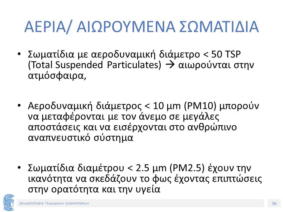 36 Δειγματοληψία Γεωχημικών Διασκοπήσεων ΑΕΡΙΑ/ ΑΙΩΡΟΥΜΕΝΑ ΣΩΜΑΤΙΔΙΑ Σωματίδια με αεροδυναμική διάμετρο < 50 TSP (Total Suspended Particulates)  αιωρούνται στην ατμόσφαιρα, Αεροδυναμική διάμετρος < 10 μm (PM10) μπορούν να μεταφέρονται με τον άνεμο σε μεγάλες αποστάσεις και να εισέρχονται στο ανθρώπινο αναπνευστικό σύστημα Σωματίδια διαμέτρου < 2.5 μm (PM2.5) έχουν την ικανότητα να σκεδάζουν το φως έχοντας επιπτώσεις στην ορατότητα και την υγεία