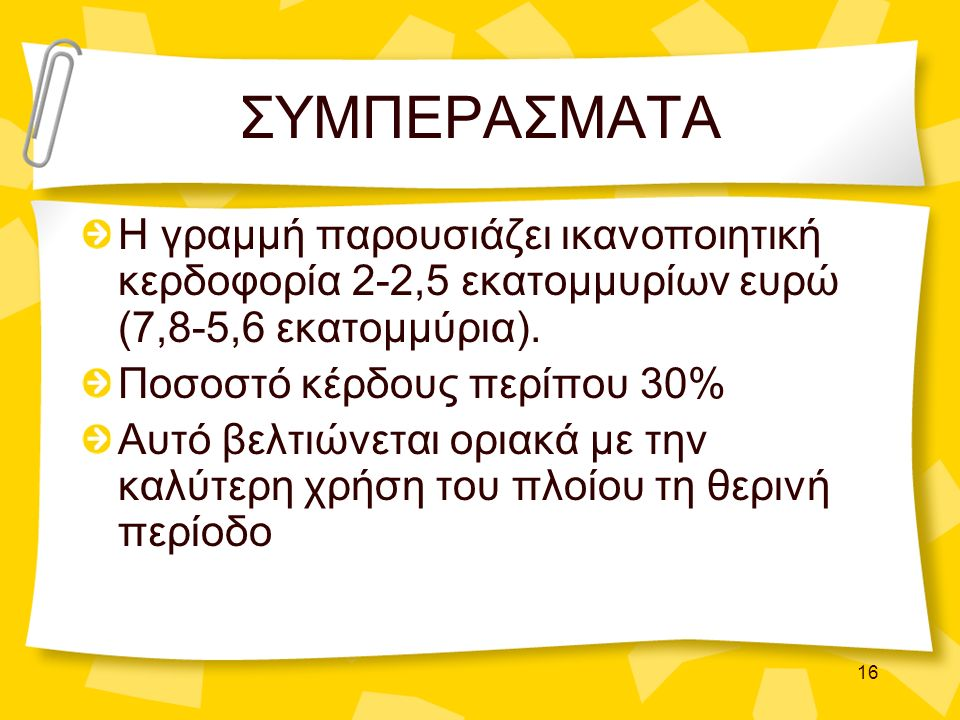 16 ΣΥΜΠΕΡΑΣΜΑΤΑ Η γραμμή παρουσιάζει ικανοποιητική κερδοφορία 2-2,5 εκατομμυρίων ευρώ (7,8-5,6 εκατομμύρια). Ποσοστό κέρδους περίπου 30% Αυτό βελτιώνε