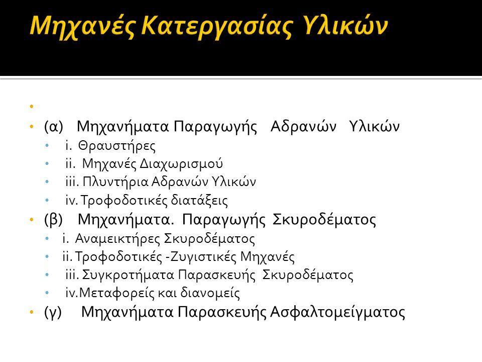 (α) Μηχανήματα Παραγωγής Αδρανών Υλικών i. Θραυστήρες ii.