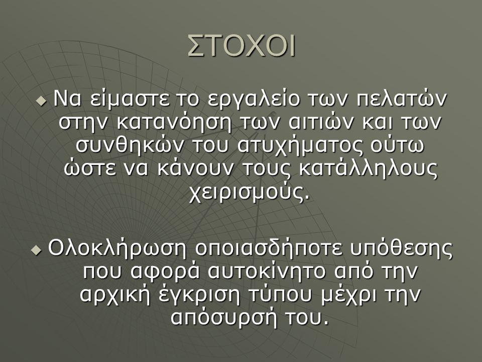 ΕΚΔΟΣΗ ΠΙΣΤΟΠΟΙΗΤΙΚΩΝ ΕΓΚΡΙΣΕΩΣ ΤΥΠΟΥ  Ελληνική έγκριση τύπου για δίκυκλα  Ελληνική έγκριση τύπου αυτοκινήτων  Ελληνική έγκριση τύπου βαρέων οχημάτων(φορτηγά – λεωφορεία κλπ)  Τροποποιήσεις αδειών κυκλοφορίας οχημάτων μετά από μετατροπές.