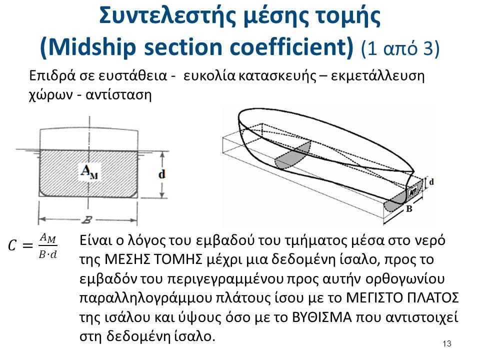 Συντελεστής μέσης τομής (Midship section coefficient) (1 από 3) Επιδρά σε ευστάθεια - ευκολία κατασκευής – εκμετάλλευση χώρων - αντίσταση 13 Είναι ο λόγος του εμβαδού του τμήματος μέσα στο νερό της ΜΕΣΗΣ ΤΟΜΗΣ μέχρι μια δεδομένη ίσαλο, προς το εμβαδόν του περιγεγραμμένου προς αυτήν ορθογωνίου παραλληλογράμμου πλάτους ίσου με το ΜΕΓΙΣΤΟ ΠΛΑΤΟΣ της ισάλου και ύψους όσο με το ΒΥΘΙΣΜΑ που αντιστοιχεί στη δεδομένη ίσαλο.