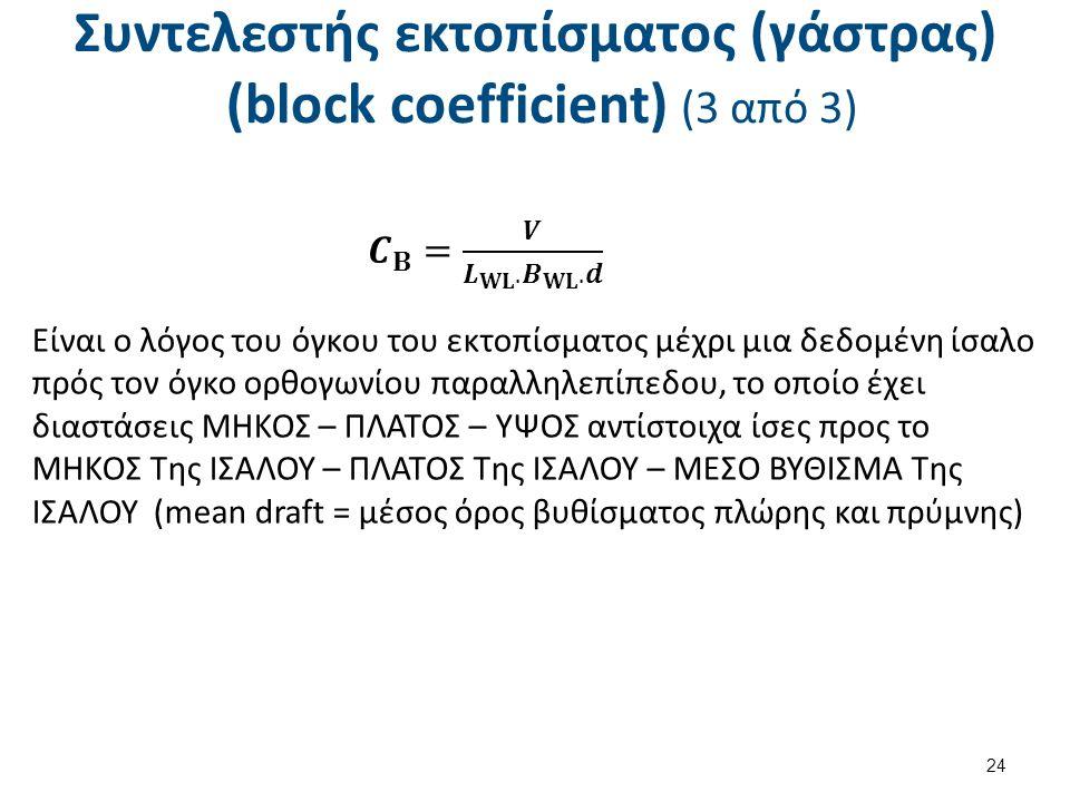 Συντελεστής εκτοπίσματος (γάστρας) (block coefficient) (3 από 3) 24 Είναι ο λόγος του όγκου του εκτοπίσματος μέχρι μια δεδομένη ίσαλο πρός τον όγκο ορθογωνίου παραλληλεπίπεδου, το οποίο έχει διαστάσεις ΜΗΚΟΣ – ΠΛΑΤΟΣ – ΥΨΟΣ αντίστοιχα ίσες προς το ΜΗΚΟΣ Της ΙΣΑΛΟΥ – ΠΛΑΤΟΣ Της ΙΣΑΛΟΥ – ΜΕΣΟ ΒΥΘΙΣΜΑ Της ΙΣΑΛΟΥ (mean draft = μέσος όρος βυθίσματος πλώρης και πρύμνης)
