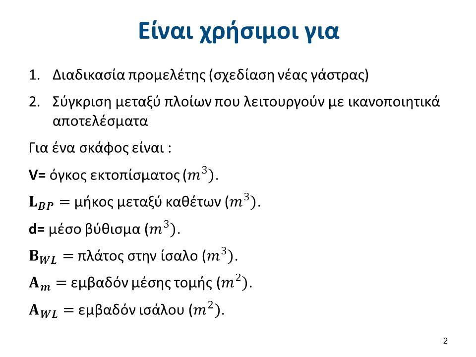Λόγοι κύριων διαστάσεων (1 από 7) LΒΡ / Β : (3,0 – 9,5) Αναφέρεται στη λεπτότητα του σκάφους.