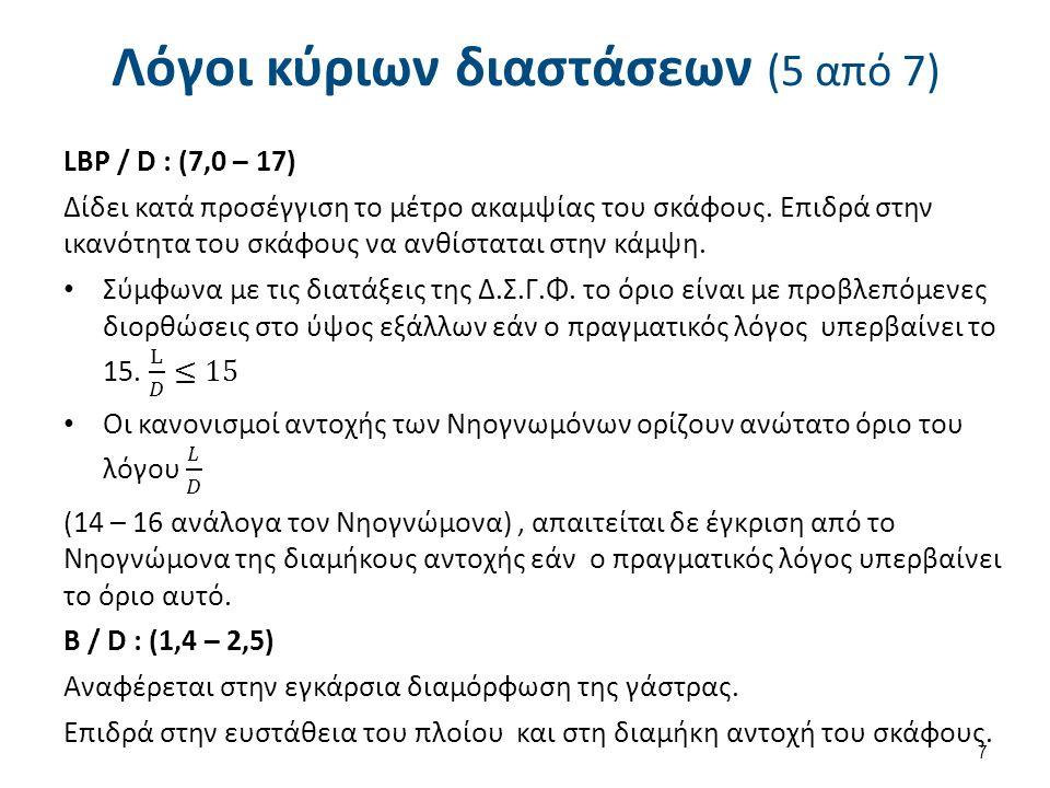 Λόγοι κύριων διαστάσεων (6 από 7) D / d : (1,1 – 2,2) Αναφέρεται στην κατακόρυφη έκταση του σκάφους κάτω και πάνω από την ίσαλο.