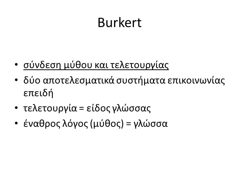 Burkert σύνδεση μύθου και τελετουργίας δύο αποτελεσματικά συστήματα επικοινωνίας επειδή τελετουργία = είδος γλώσσας έναθρος λόγος (μύθος) = γλώσσα
