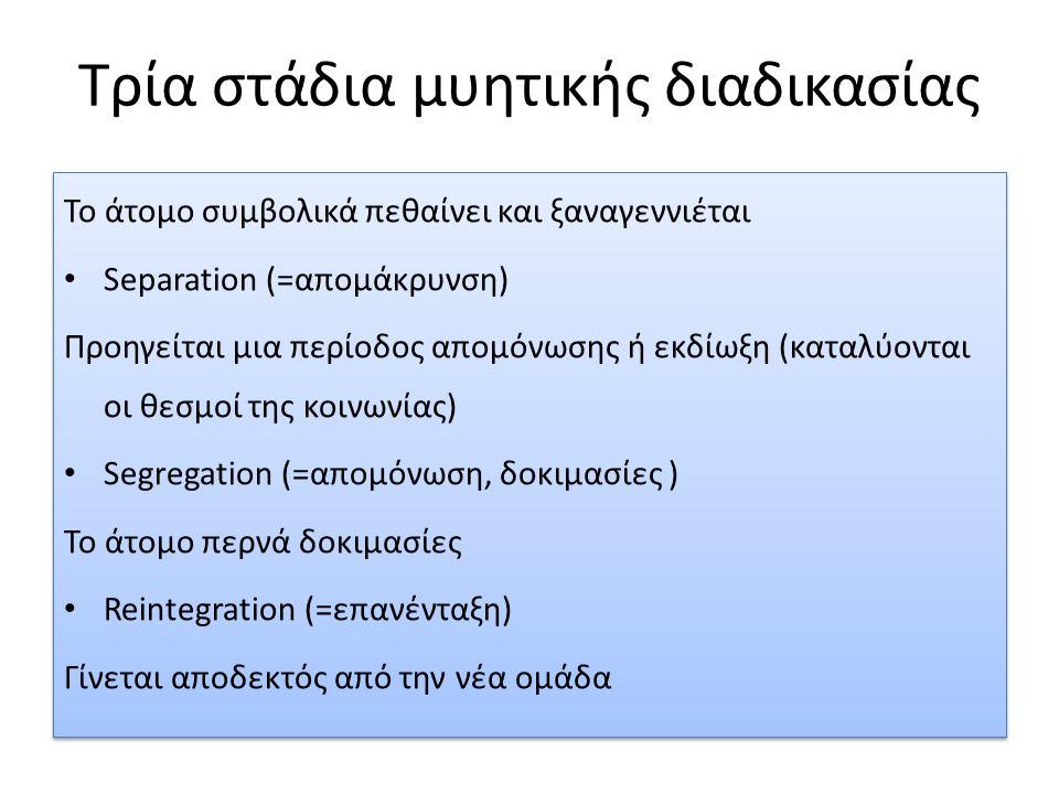 Τρία στάδια μυητικής διαδικασίας Το άτομο συμβολικά πεθαίνει και ξαναγεννιέται Separation (=απομάκρυνση) Προηγείται μια περίοδος απομόνωσης ή εκδίωξη (καταλύονται οι θεσμοί της κοινωνίας) Segregation (=απομόνωση, δοκιμασίες ) Το άτομο περνά δοκιμασίες Reintegration (=επανένταξη) Γίνεται αποδεκτός από την νέα ομάδα Το άτομο συμβολικά πεθαίνει και ξαναγεννιέται Separation (=απομάκρυνση) Προηγείται μια περίοδος απομόνωσης ή εκδίωξη (καταλύονται οι θεσμοί της κοινωνίας) Segregation (=απομόνωση, δοκιμασίες ) Το άτομο περνά δοκιμασίες Reintegration (=επανένταξη) Γίνεται αποδεκτός από την νέα ομάδα