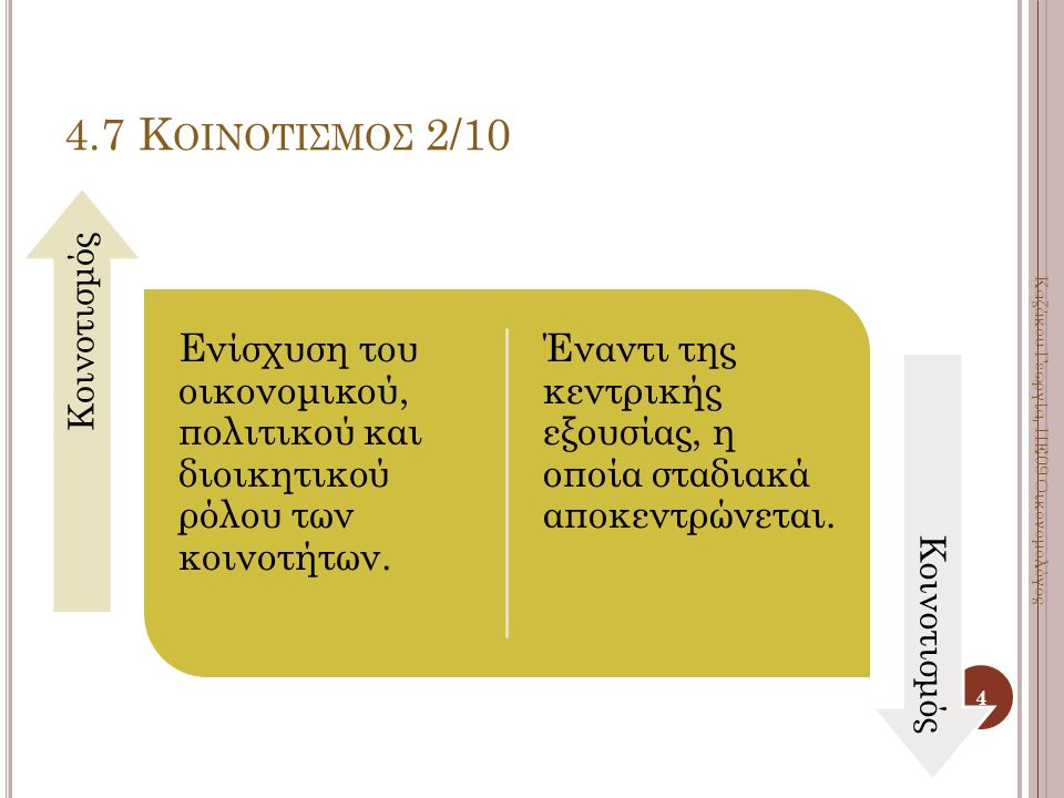 Ενίσχυση του οικονομικού, πολιτικού και διοικητικού ρόλου των κοινοτήτων. Έναντι της κεντρικής εξουσίας, η οποία σταδιακά αποκεντρώνεται. Κοινοτισμός