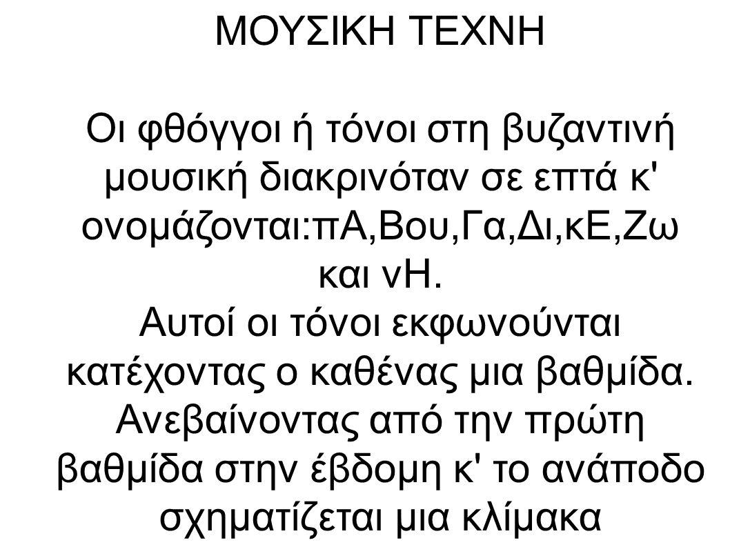 ΜΟΥΣΙΚΗ ΤΕΧΝΗ Οι φθόγγοι ή τόνοι στη βυζαντινή μουσική διακρινόταν σε επτά κ ονομάζονται:πΑ,Βου,Γα,Δι,κΕ,Ζω και νΗ.