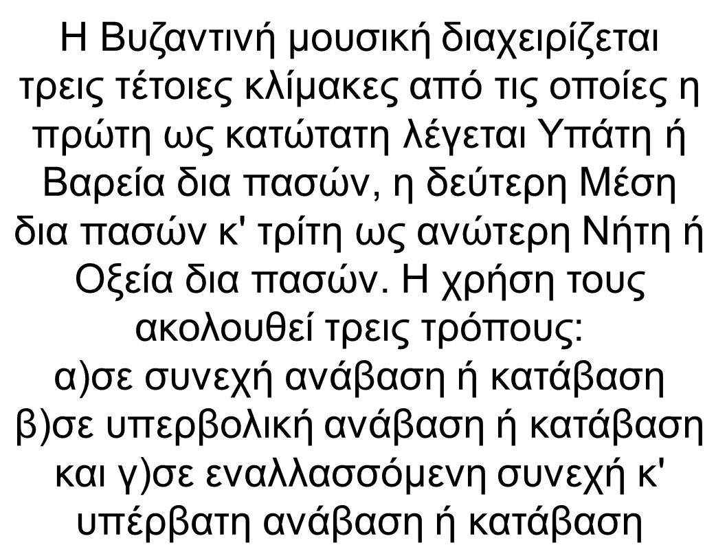 Η Βυζαντινή μουσική διαχειρίζεται τρεις τέτοιες κλίμακες από τις οποίες η πρώτη ως κατώτατη λέγεται Υπάτη ή Βαρεία δια πασών, η δεύτερη Μέση δια πασών κ τρίτη ως ανώτερη Νήτη ή Οξεία δια πασών.
