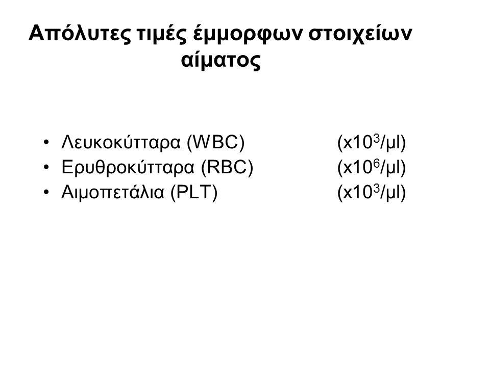 Aπόλυτες τιμές έμμορφων στοιχείων αίματος Λευκοκύτταρα (WBC) (x10 3 /μl) Ερυθροκύτταρα (RBC) (x10 6 /μl) Αιμοπετάλια (PLT)(x10 3 /μl)