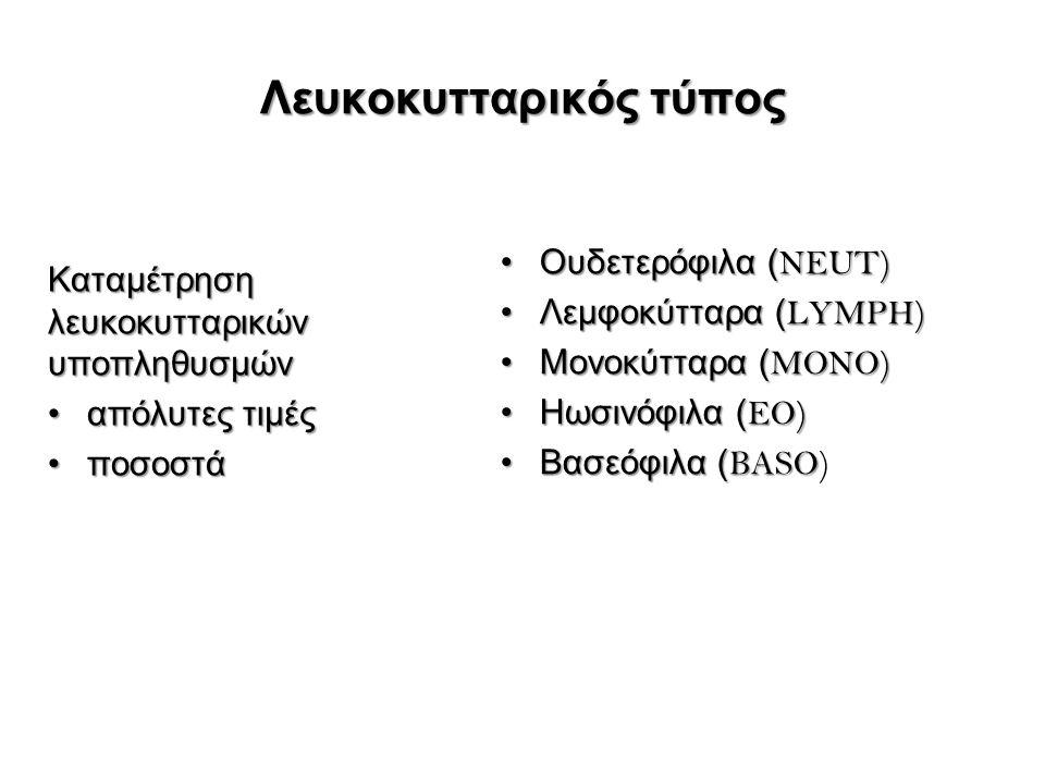 Λευκοκυτταρικός τύπος Καταμέτρηση λευκοκυτταρικών υποπληθυσμών απόλυτες τιμέςαπόλυτες τιμές ποσοστάποσοστά Ουδετερόφιλα ( NEUT)Ουδετερόφιλα ( NEUT) Λεμφοκύτταρα ( LYMPH)Λεμφοκύτταρα ( LYMPH) Μονοκύτταρα ( MONO)Μονοκύτταρα ( MONO) Ηωσινόφιλα ( EO)Ηωσινόφιλα ( EO) Βασεόφιλα ( BASOΒασεόφιλα ( BASO)