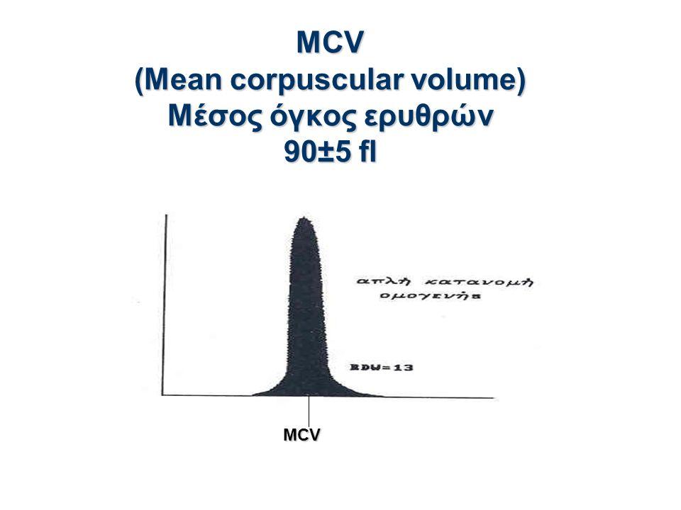 MCV (Mean corpuscular volume) Μέσος όγκος ερυθρών 90±5 fl MCV