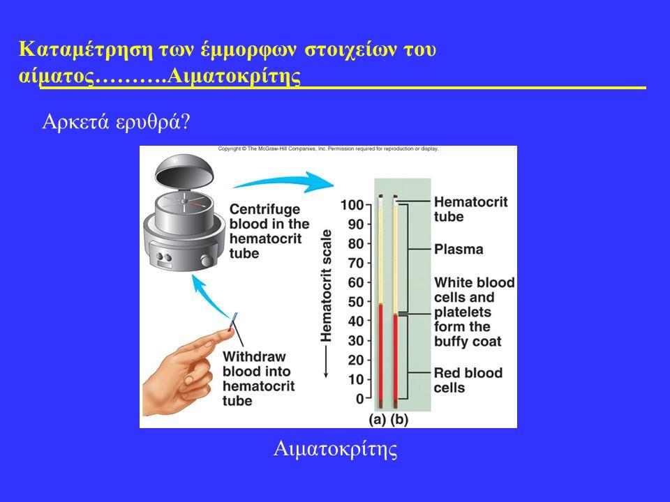 Καταμέτρηση των έμμορφων στοιχείων του αίματος……….Αιματοκρίτης Αρκετά ερυθρά? Αιματοκρίτης