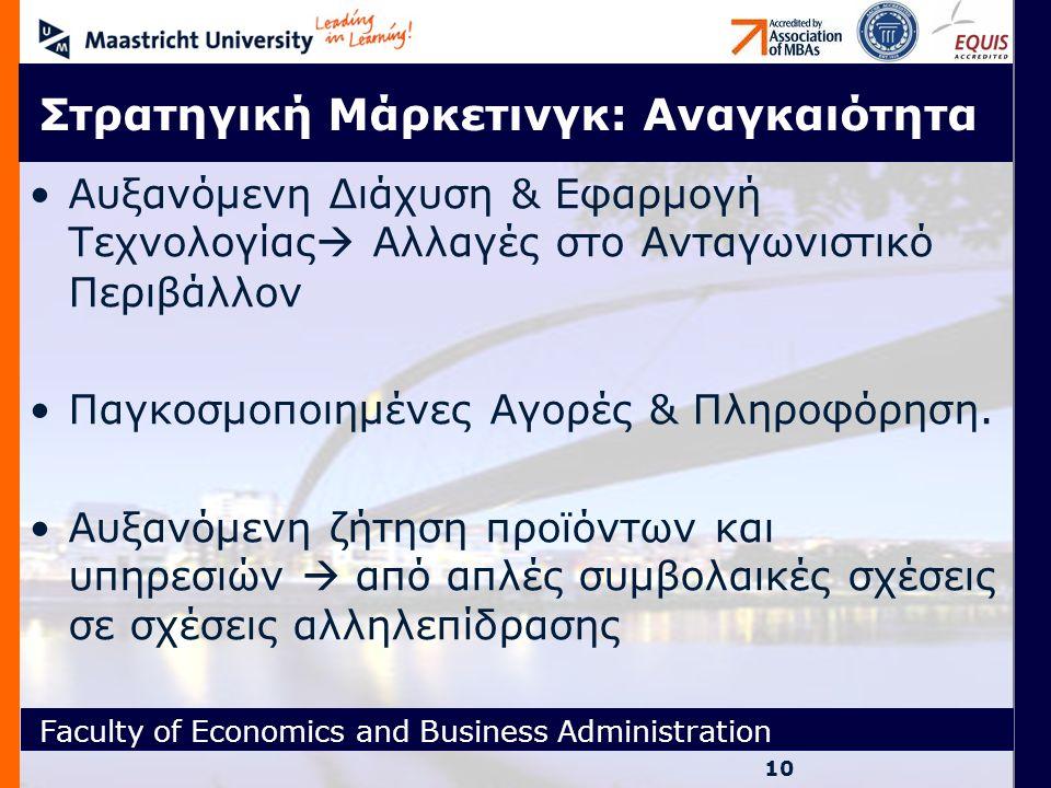 Faculty of Economics and Business Administration Στρατηγική Μάρκετινγκ: Αναγκαιότητα Αυξανόμενη Διάχυση & Εφαρμογή Τεχνολογίας  Αλλαγές στο Ανταγωνισ