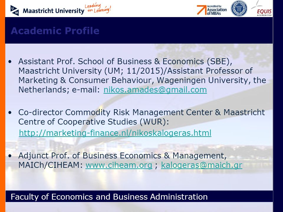 Faculty of Economics and Business Administration Πώληση: Μόνο η Κορυφή του Παγόβουνου!!.
