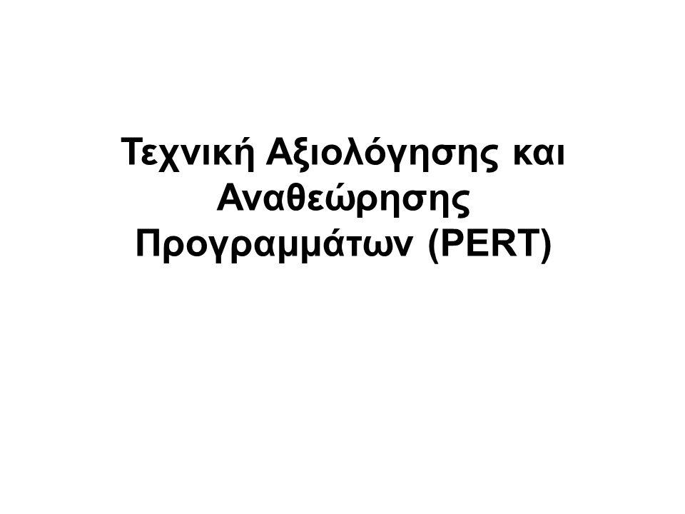 Διάγραμμα PERT Οι δραστηριότητες του προγράμματος θεωρούνται ως ένα σύνολο γεγονότων συνδεδεμένων μεταξύ τους όπως ένα δίκτυο.