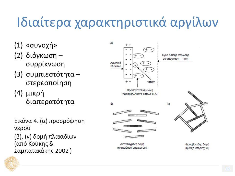 13 Τίτλος Ενότητας (1)«συνοχή» (2)διόγκωση – συρρίκνωση (3)συμπιεστότητα – στερεοποίηση (4)μικρή διαπερατότητα Εικόνα 4. (α) προσρόφηση νερού (β), (γ)
