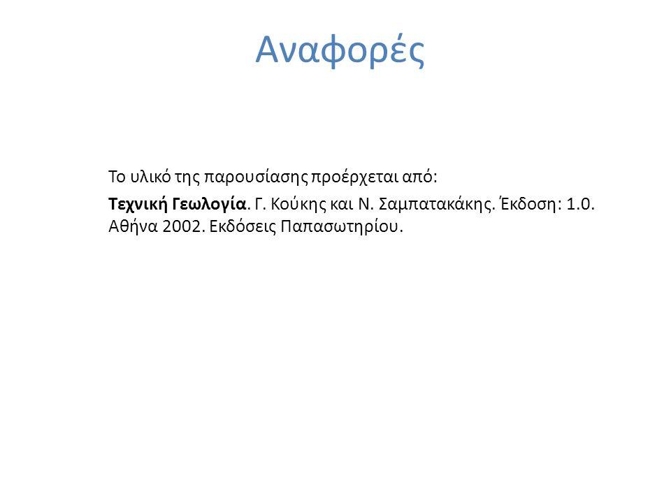 Αναφορές Το υλικό της παρουσίασης προέρχεται από: Τεχνική Γεωλογία. Γ. Κούκης και Ν. Σαμπατακάκης. Έκδοση: 1.0. Αθήνα 2002. Εκδόσεις Παπασωτηρίου.