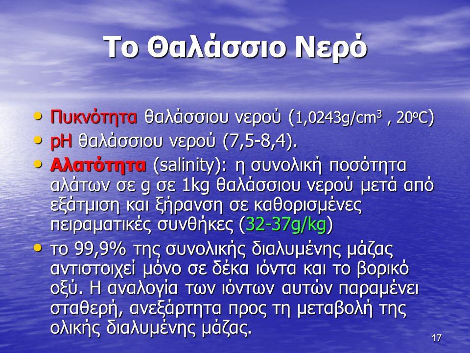 17 Το Θαλάσσιο Νερό Πυκνότητα θαλάσσιου νερού ( 1,0243g/cm 3, 20 o C ) Πυκνότητα θαλάσσιου νερού ( 1,0243g/cm 3, 20 o C ) pH θαλάσσιου νερού (7,5-8,4).