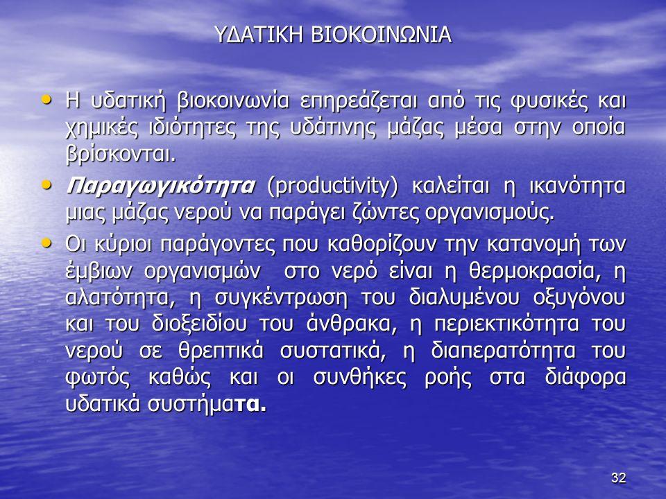 ΥΔΑΤΙΚΗ ΒΙΟΚΟΙΝΩΝΙΑ Η υδατική βιοκοινωνία επηρεάζεται από τις φυσικές και χημικές ιδιότητες της υδάτινης μάζας μέσα στην οποία βρίσκονται.