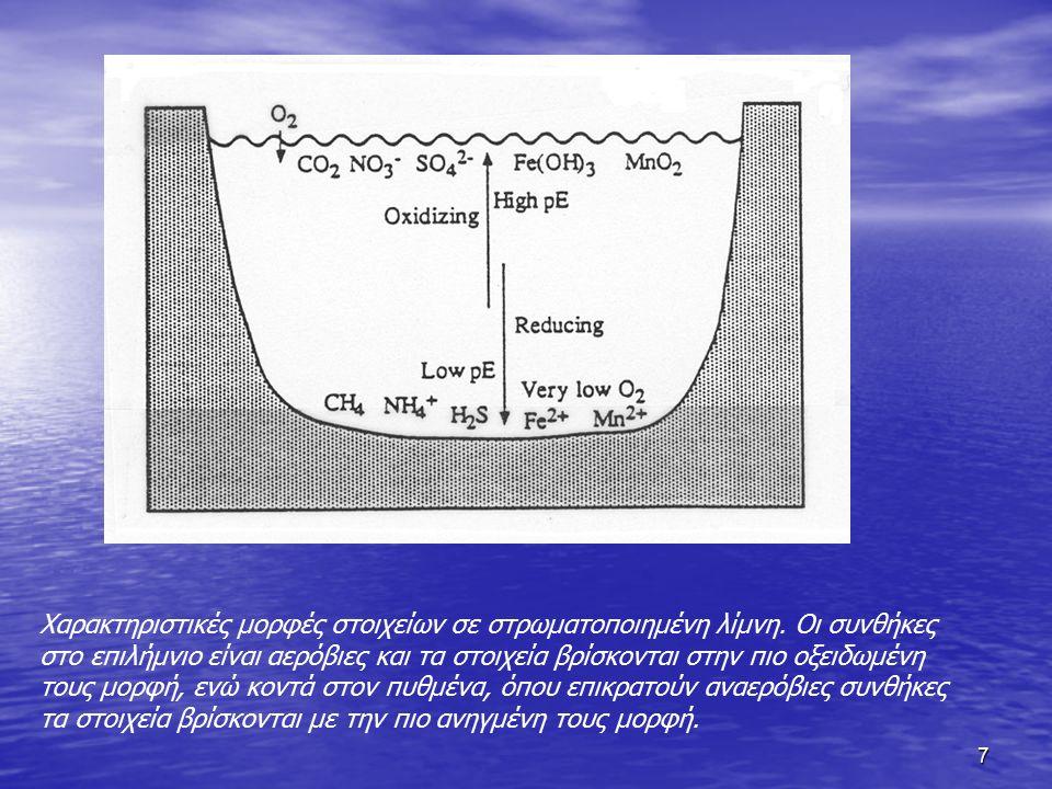 18 Τα κυριότερα συστατικά του θαλάσσιου νερού (major constituents of seawater) % σε σχέση με την αλατότητα (34g/kg) Συγκέντρωση σε mg/kg Cl - 5519.352 SO 4 -2 7,72.707 HCO3 - 0,40,143 Br - 0,20,666 F-F-F-F-0,0030,001 H 3 BO 3 0,0070,027 Na + 30,610.758 Mg 2+ 3,71.295 Ca 2+ 1,20,415 K+K+K+K+1,10,388 Sr 2+ 0,030,011
