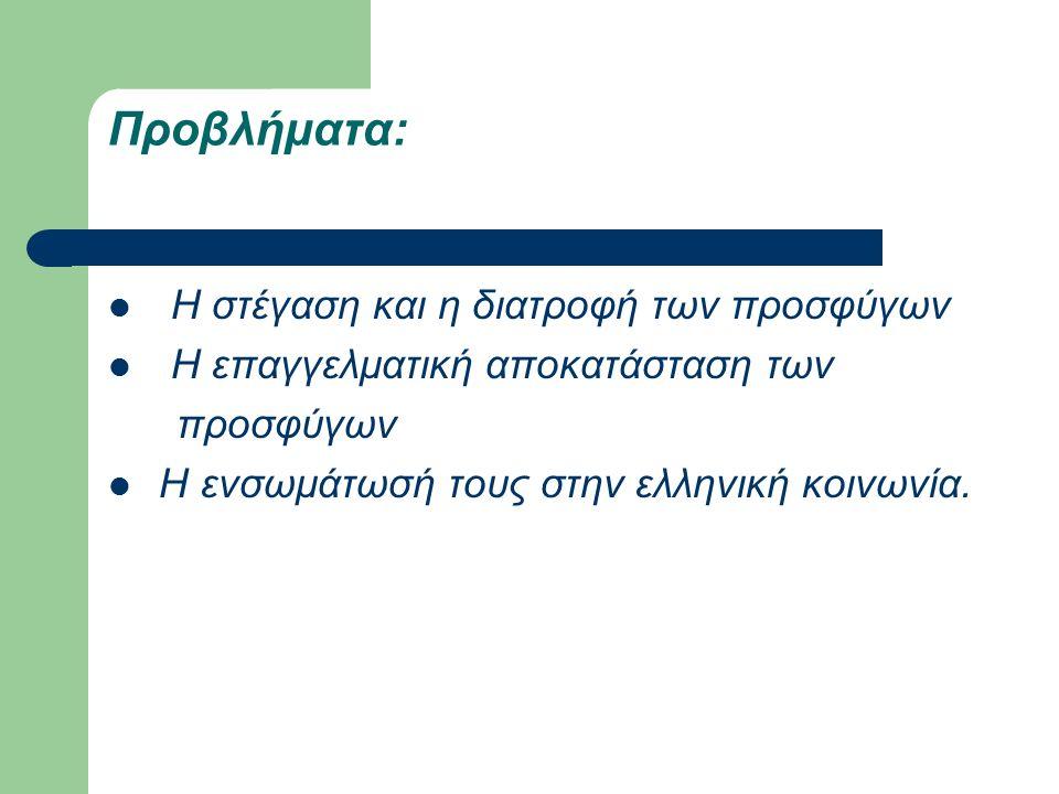 Προβλήματα: Η στέγαση και η διατροφή των προσφύγων Η επαγγελματική αποκατάσταση των προσφύγων Η ενσωμάτωσή τους στην ελληνική κοινωνία.