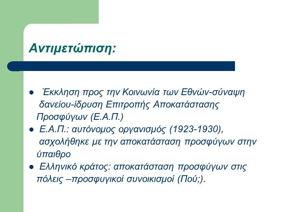 Αντιμετώπιση: Έκκληση προς την Κοινωνία των Εθνών-σύναψη δανείου-ίδρυση Επιτροπής Αποκατάστασης Προσφύγων (Ε.Α.Π.) Ε.Α.Π.: αυτόνομος οργανισμός (1923-1930), ασχολήθηκε με την αποκατάσταση προσφύγων στην ύπαιθρο Ελληνικό κράτος: αποκατάσταση προσφύγων στις πόλεις –προσφυγικοί συνοικισμοί (Πού;).