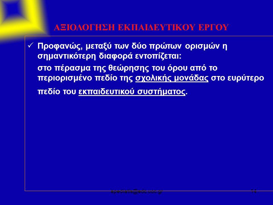 apediatis@edc.uoc.gr14 ΑΞΙΟΛΟΓΗΣΗ ΕΚΠΑΙΔΕΥΤΙΚΟΥ ΕΡΓΟΥ  Προφανώς, μεταξύ των δύο πρώτων ορισμών η σημαντικότερη διαφορά εντοπίζεται: στο πέρασμα της θ