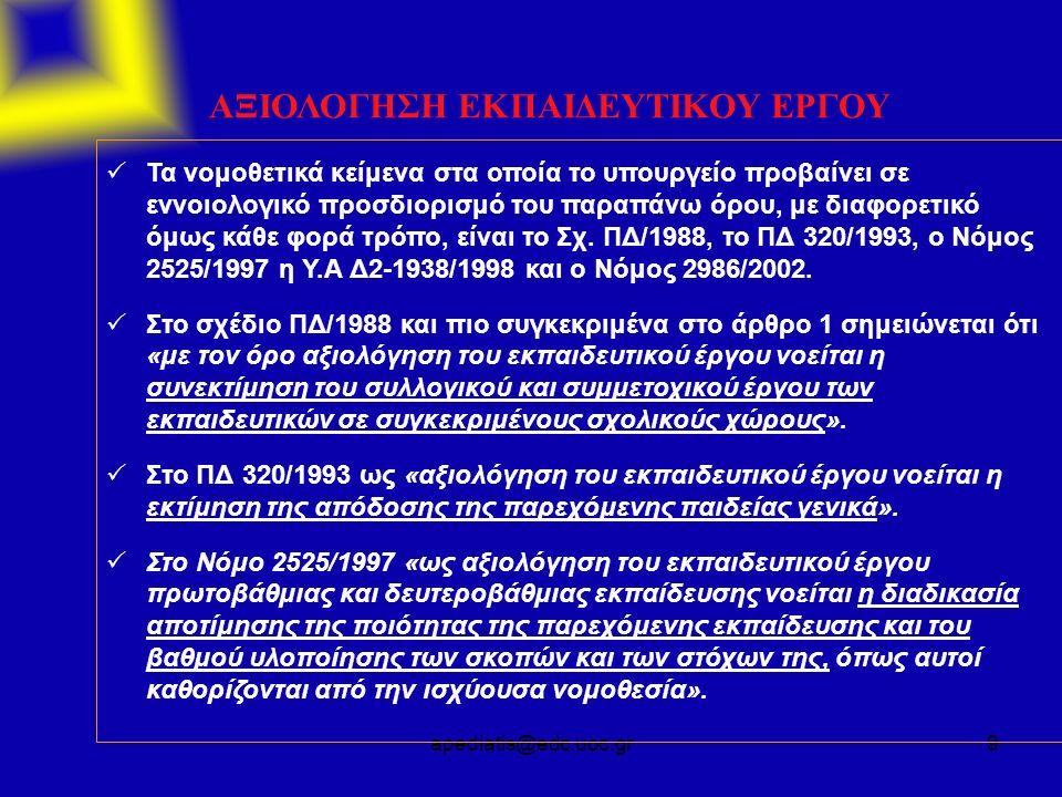 apediatis@edc.uoc.gr9 ΑΞΙΟΛΟΓΗΣΗ ΕΚΠΑΙΔΕΥΤΙΚΟΥ ΕΡΓΟΥ  Τα νομοθετικά κείμενα στα οποία το υπουργείο προβαίνει σε εννοιολογικό προσδιορισμό του παραπάνω όρου, με διαφορετικό όμως κάθε φορά τρόπο, είναι το Σχ.