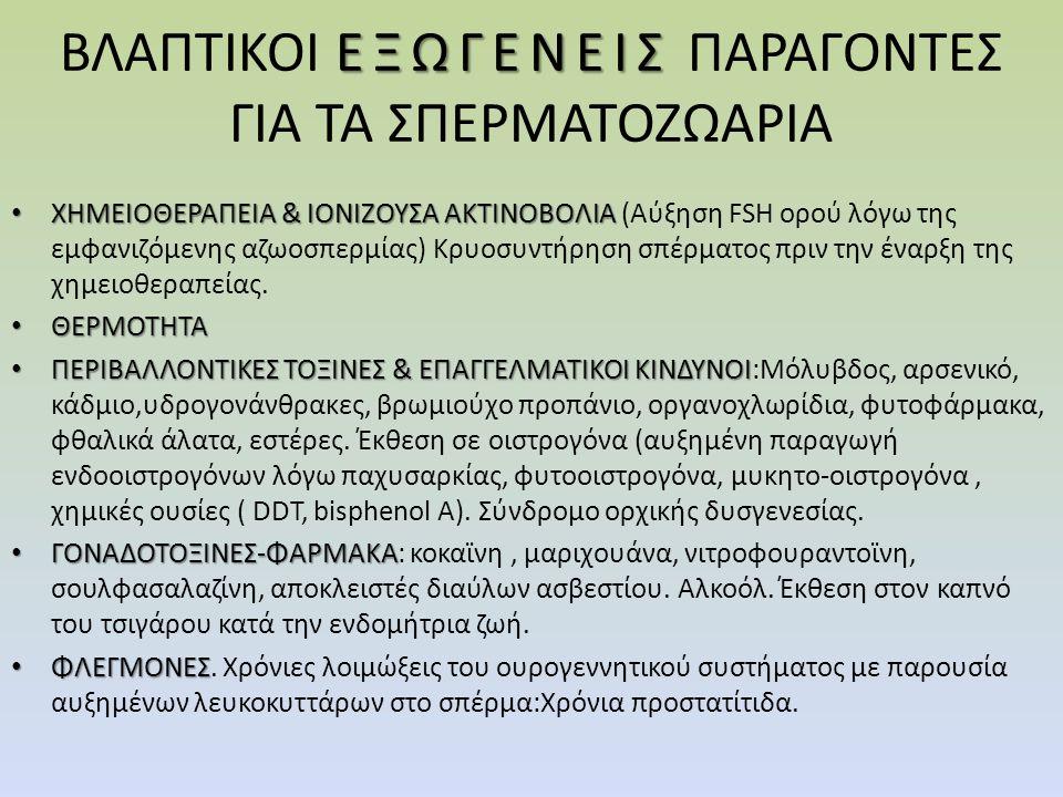 ΕΞΩΓΕΝΕΙΣ ΒΛΑΠΤΙΚΟΙ ΕΞΩΓΕΝΕΙΣ ΠΑΡΑΓΟΝΤΕΣ ΓΙΑ ΤΑ ΣΠΕΡΜΑΤΟΖΩΑΡΙΑ ΧΗΜΕΙΟΘΕΡΑΠΕΙΑ & ΙΟΝΙΖΟΥΣΑ ΑΚΤΙΝΟΒΟΛΙΑ ΧΗΜΕΙΟΘΕΡΑΠΕΙΑ & ΙΟΝΙΖΟΥΣΑ ΑΚΤΙΝΟΒΟΛΙΑ (Αύξηση FSH ορού λόγω της εμφανιζόμενης αζωοσπερμίας) Κρυοσυντήρηση σπέρματος πριν την έναρξη της χημειοθεραπείας.
