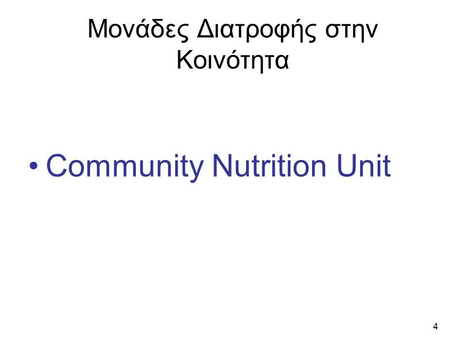 4 Μονάδες Διατροφής στην Κοινότητα Community Nutrition Unit