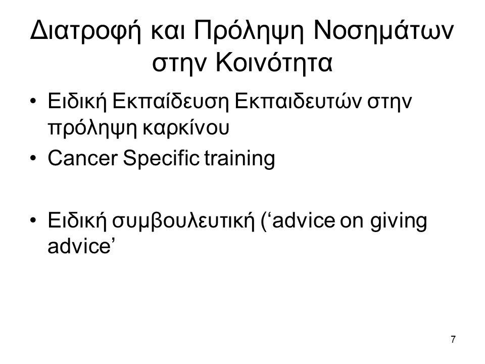 7 Διατροφή και Πρόληψη Νοσημάτων στην Κοινότητα Ειδική Εκπαίδευση Εκπαιδευτών στην πρόληψη καρκίνου Cancer Specific training Ειδική συμβουλευτική ('advice on giving advice'