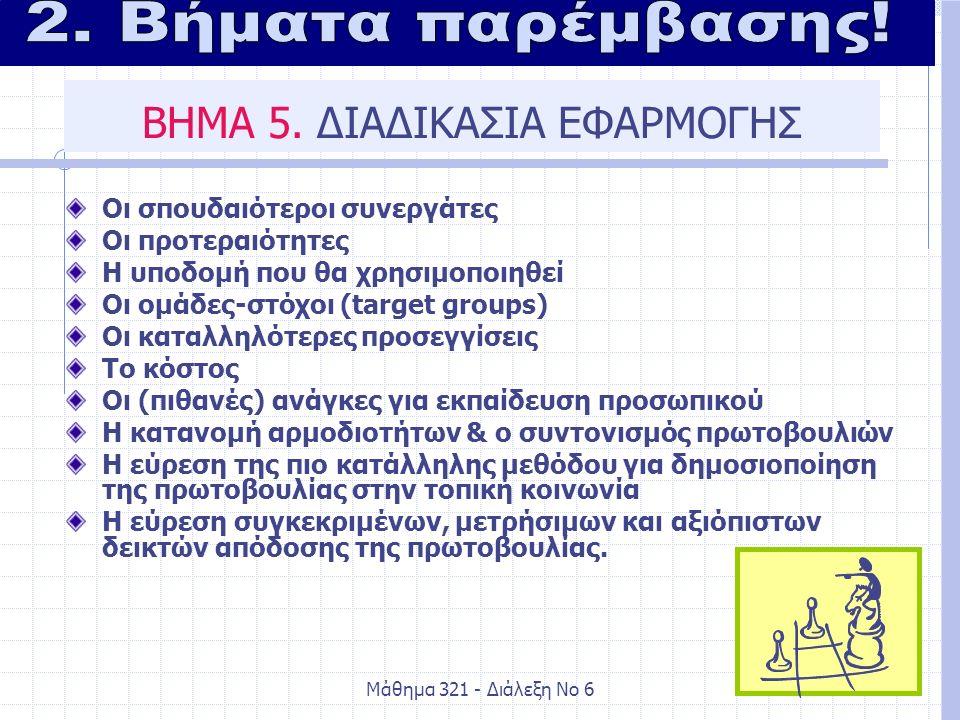 Μάθημα 321 - Διάλεξη Νο 631 ΒΗΜΑ 5.