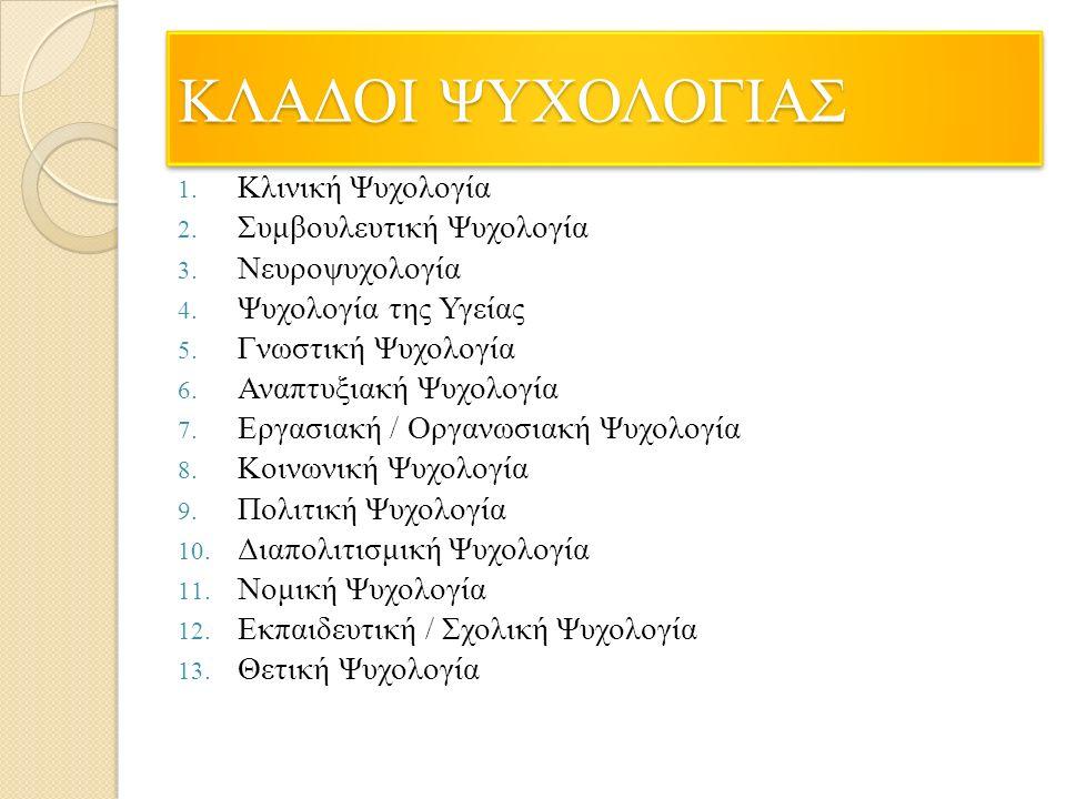 ΚΛΑΔΟΙ ΨΥΧΟΛΟΓΙΑΣ 1. Κλινική Ψυχολογία 2. Συμβουλευτική Ψυχολογία 3.