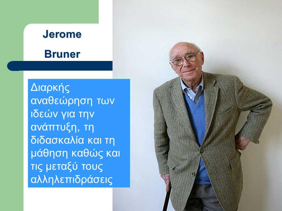 JeromeBruner Διαρκής αναθεώρηση των ιδεών για την ανάπτυξη, τη διδασκαλία και τη μάθηση καθώς και τις μεταξύ τους αλληλεπιδράσεις
